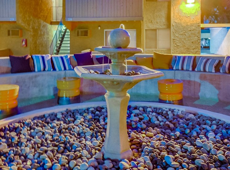 Fountain In Courtyard at Pacific Trails Luxury Apartment Homes, Covina, CA