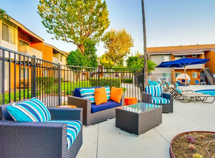 Pool Side Lounge Area at Pacific Trails Luxury Apartment Homes, Covina, California