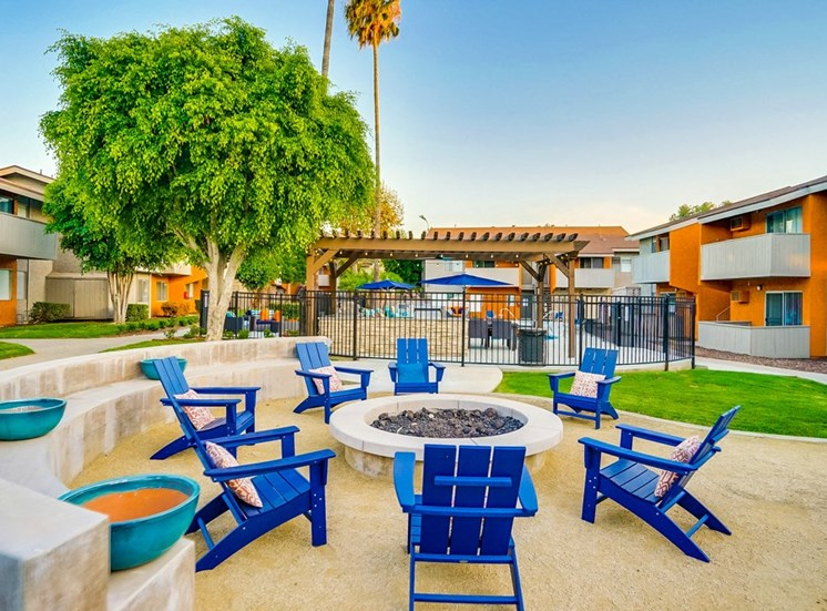 Blue Chairs And  Round Firepit at Pacific Trails Luxury Apartment Homes, Covina