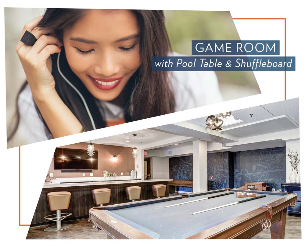 Game Room With Pool Table And Shuffle Board at The Mark Apartments, Alexandria, VA