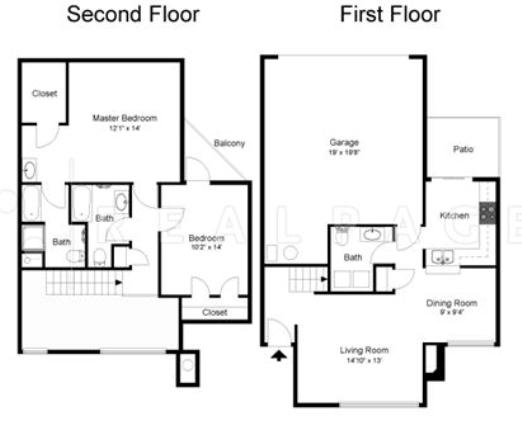 2bed 2.5bath 1644SQFT Floor Plan 3