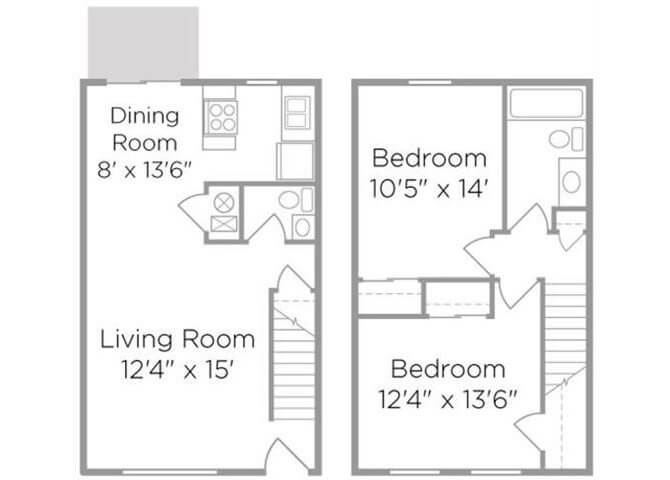 two bedroom townhomes floor plan
