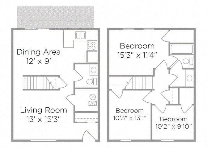 3 bedroom townhome floor plan