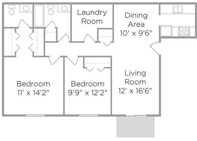 2 bed 1.5 bath apartment floor plan