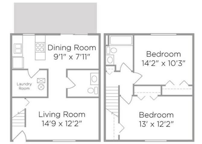 two bed apartment floor plan
