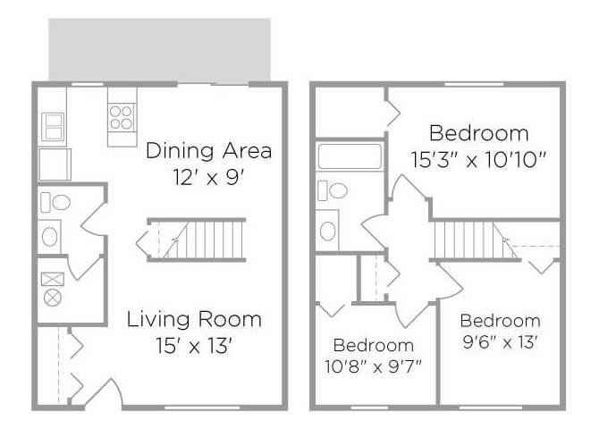 three bed townhouse floor plan
