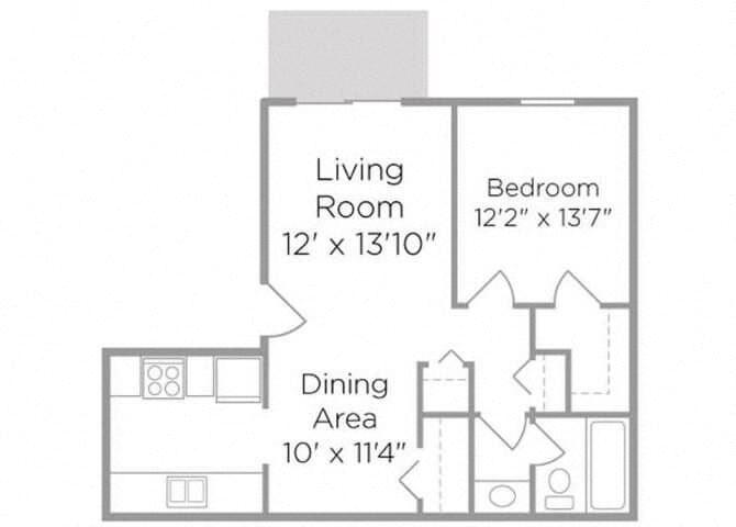 one bedroom apt floor plan