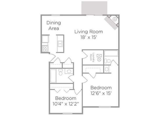 two bedroom apt floor plan