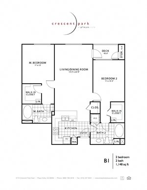 Contemporary Floor Plan 2BR 2BA