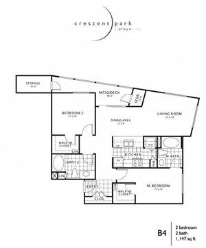 Divine Floor Plan 2BR 2BA