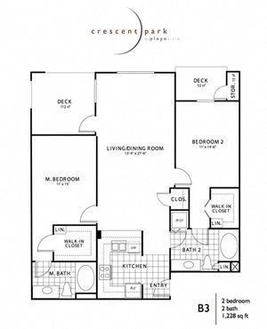 Inventive Floor Plan 2BR 2BA