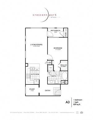 Urban Floorplan 1BR 1BA