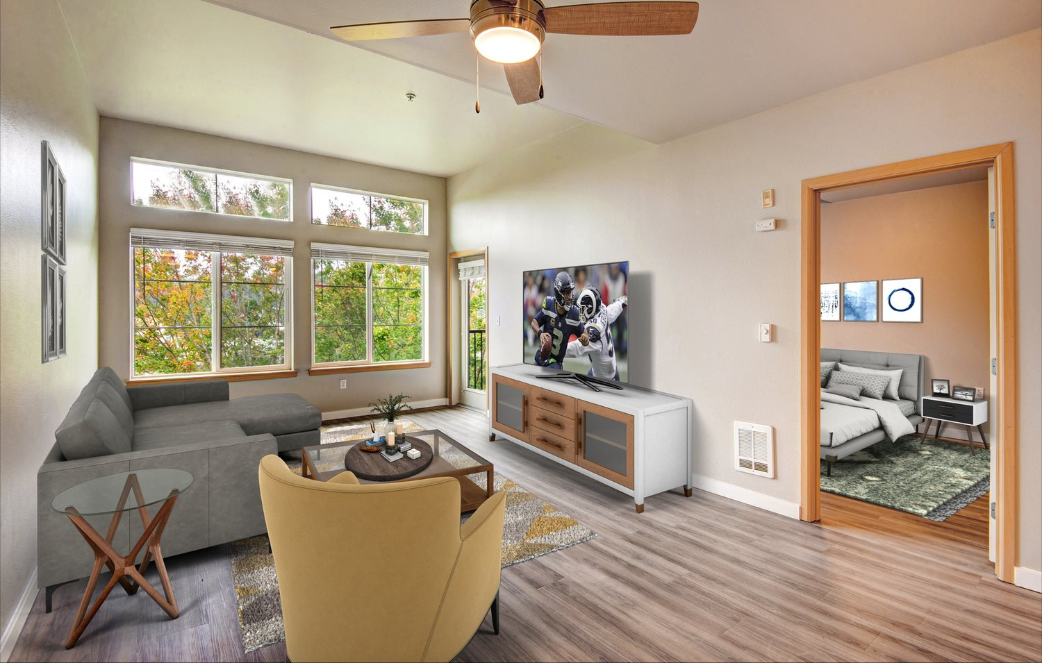 spacious units with 9 foot ceilings and hardwood floors