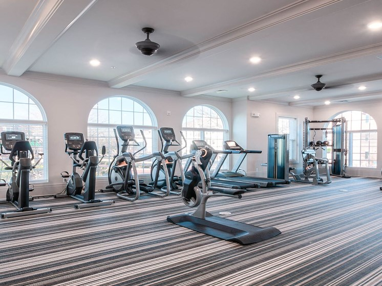 Fitness Center With Updated Equipment at Village Center Apartments At Wormans Mill*, Frederick, Maryland