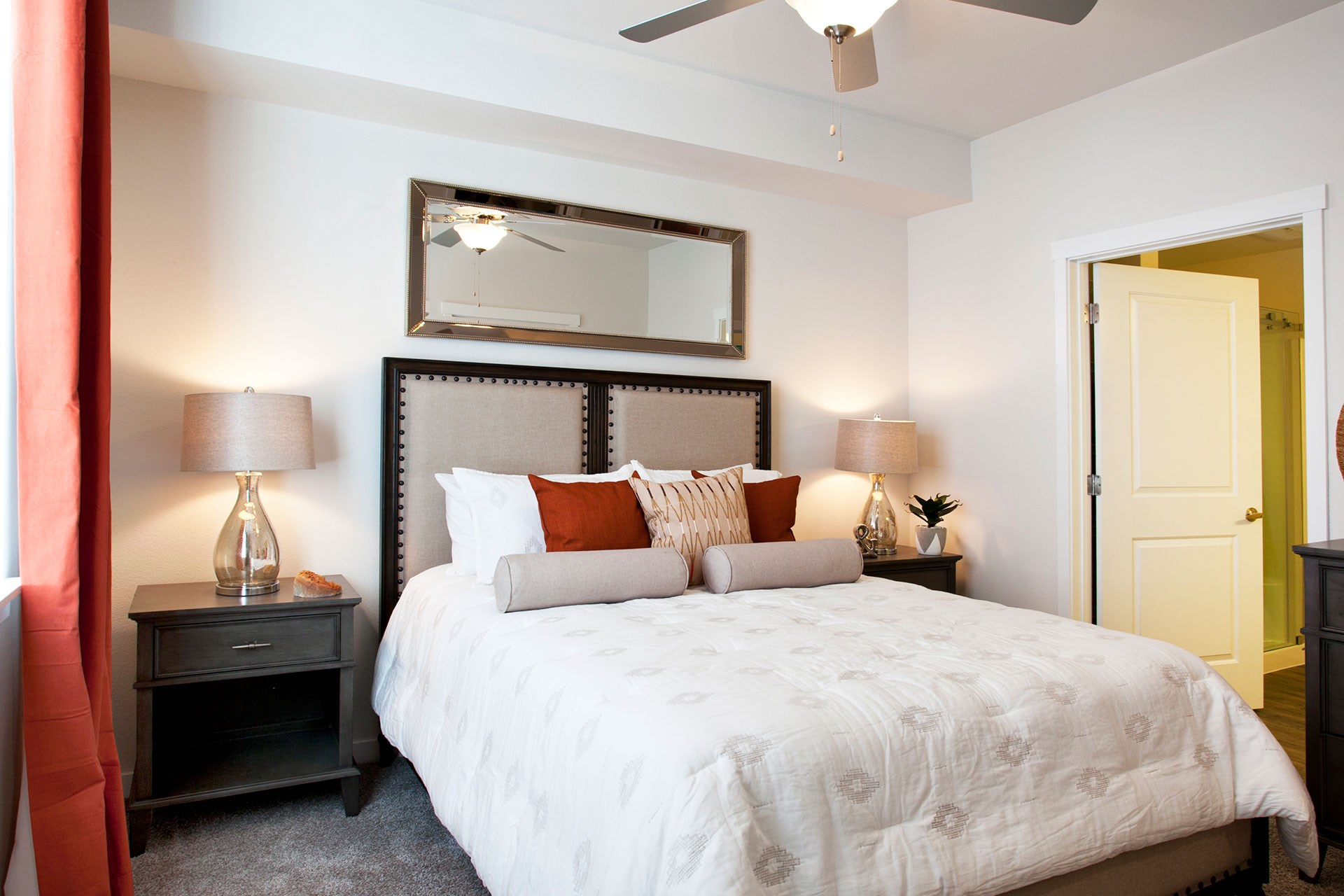 Pine Valley Ranch Apartments Model Bedroom and Ceiling Fan