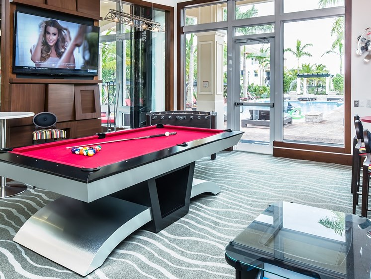 Game Room with Shuffleboard, Foosball, Billards and Gaming Systems