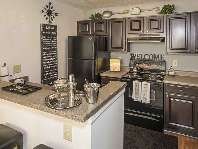 Kitchen with Breakfast Bar | Landmark at Battleground Park Apartment Homes