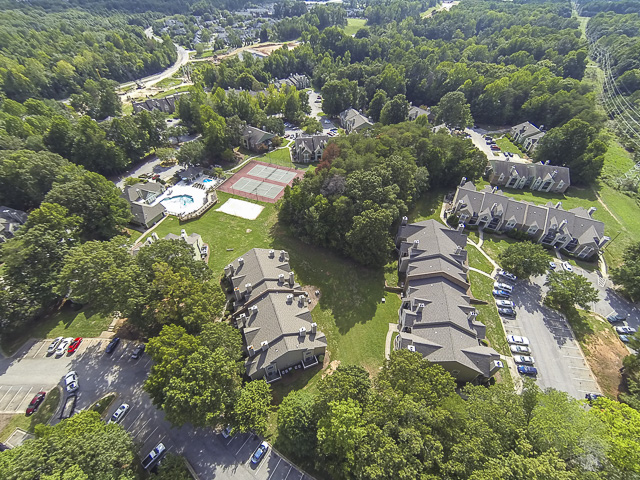 Aerial View of Landmark at Battleground Park Apartment Homes Greensboro, NC