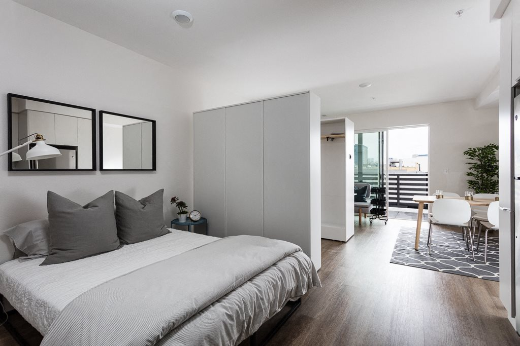 Bed l Maya Oakland | Oakland Apartments | Now Leasing Studio, One, & Two Bedrooms | Brand New | Apartments Near Bart