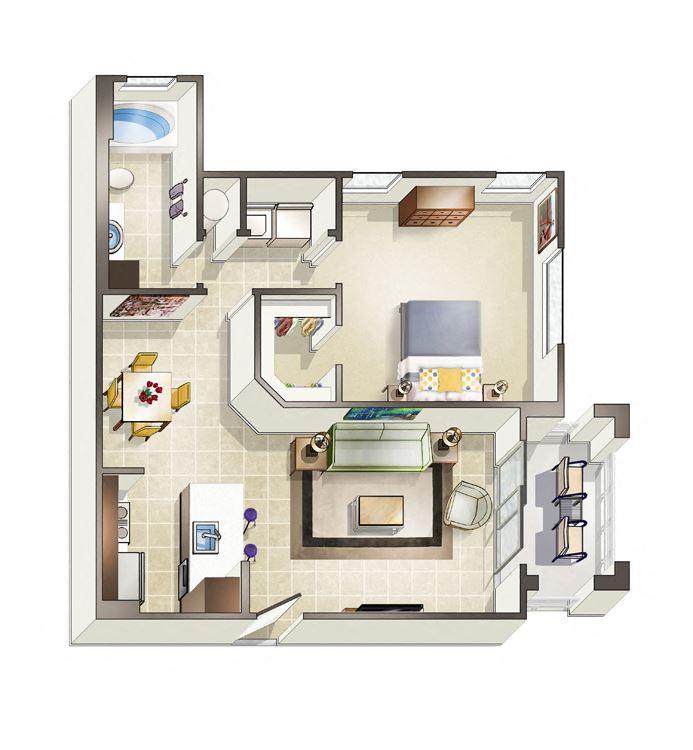 One bedroom - Alexandria Floor plan