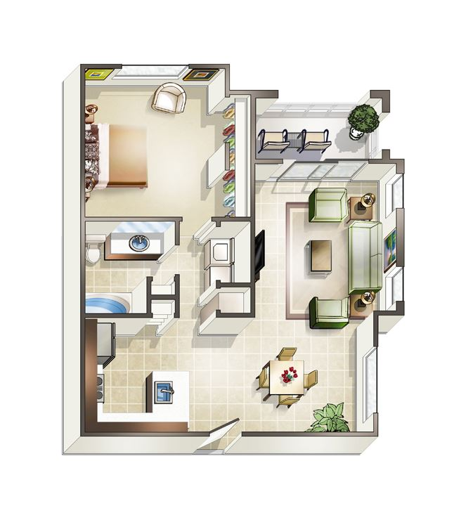 One bedroom Tunis Floor plan