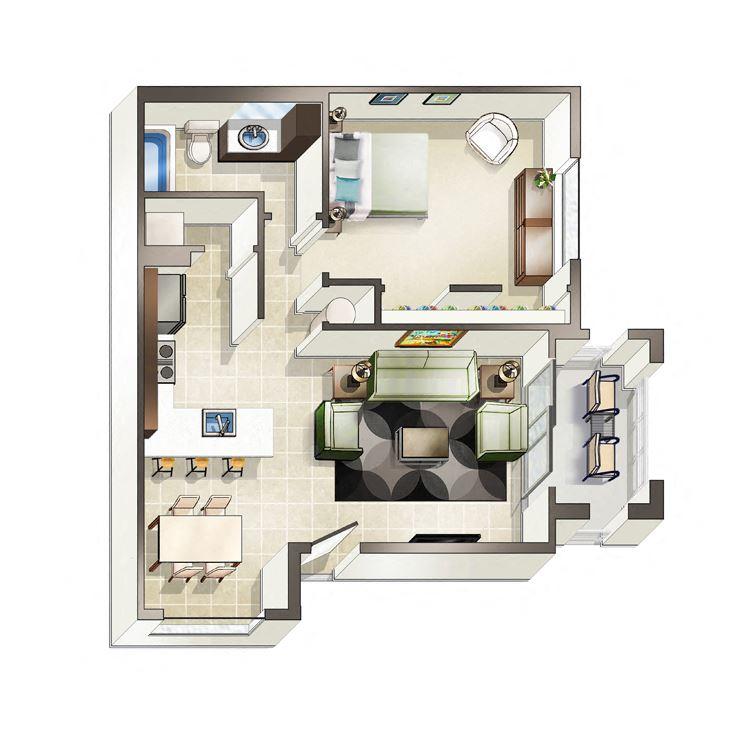 One bedroom Salerno floor plan