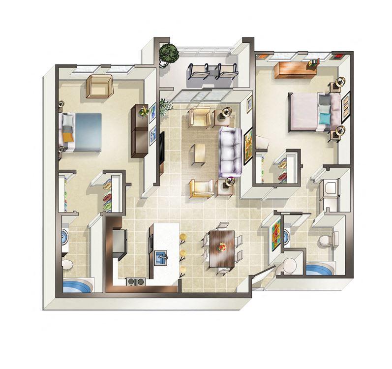 Two bedroom Marseille floor plan