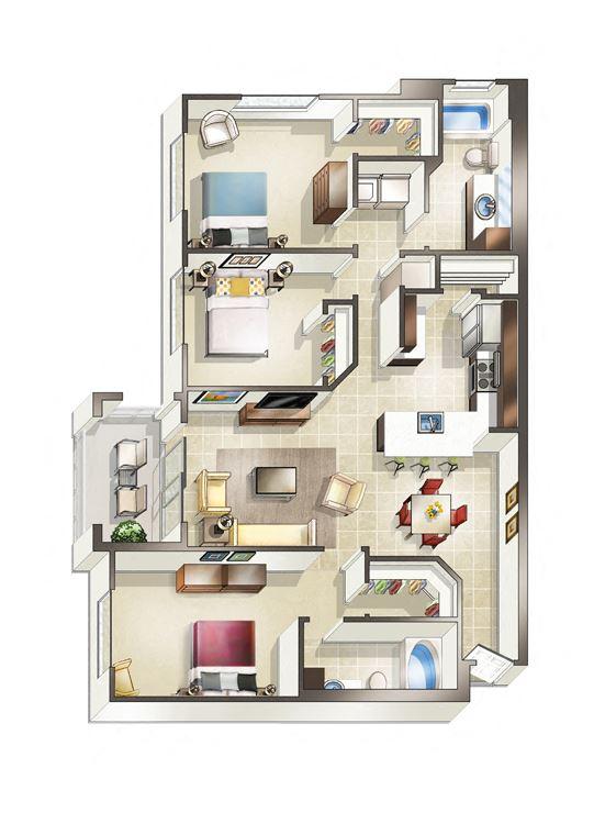 Three bedroom Valencia floor plan