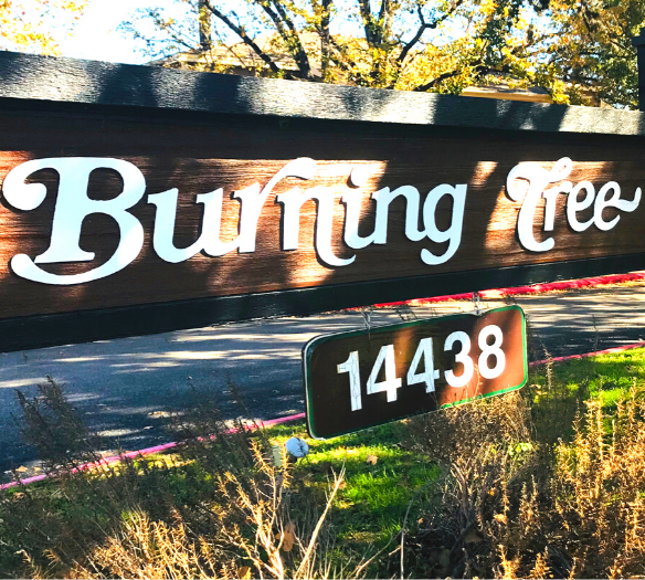 Burning Tree Community Sign