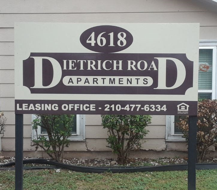 community sign reads Dietrich Road Apartments