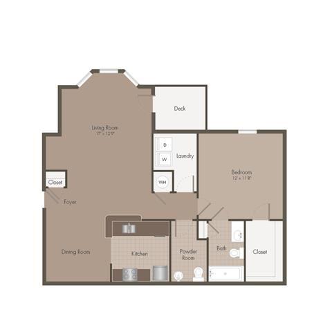 1 Bedroom | 1.5 Bath | 826 SF
