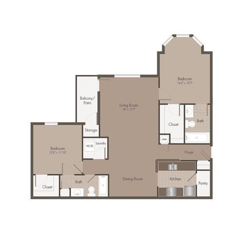 2 Bedroom | 2 Bath | 1201 SF