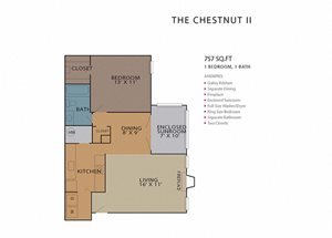 1 Bed 1 Bath ChestnutII Floor Plan at Rosemont Vinings Ridge, Atlanta, 30339