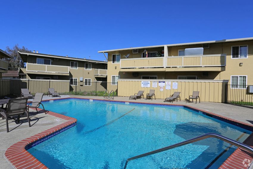 Concord CA Apartments for Rent - Mountain View Apartments Sparkling Pool with Lounge Chairs and Many More Amazing Community Amenities