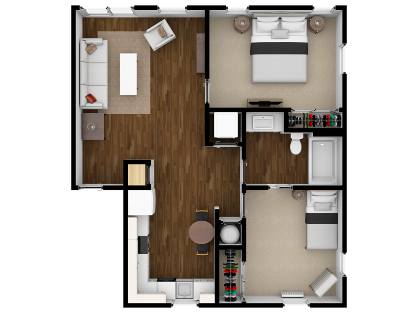 Hudson 2x1 Floor Plans at Ramblewood Apartments in Fremont, CA 94536