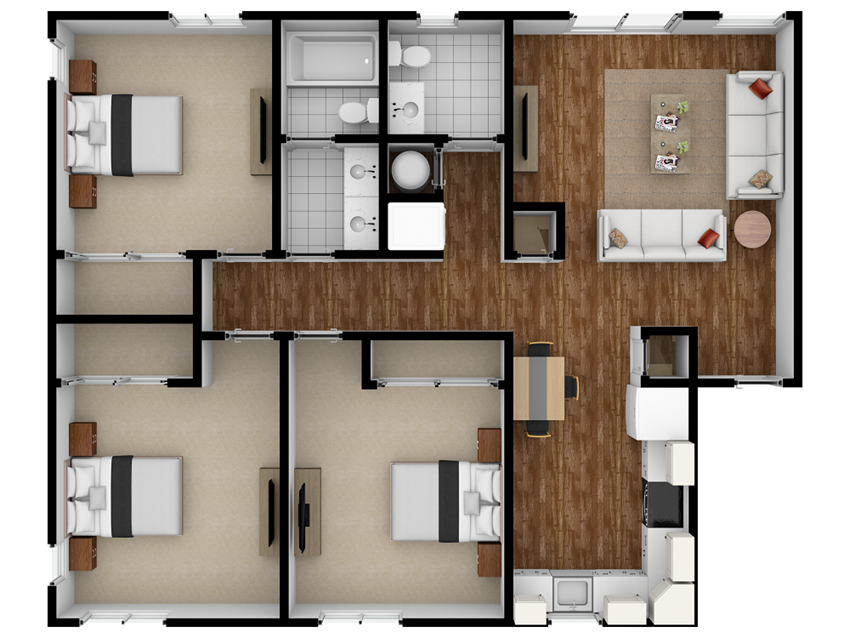 Wallace 3x2 Floor Plans at Ramblewood Apartments in Fremont, CA 94536