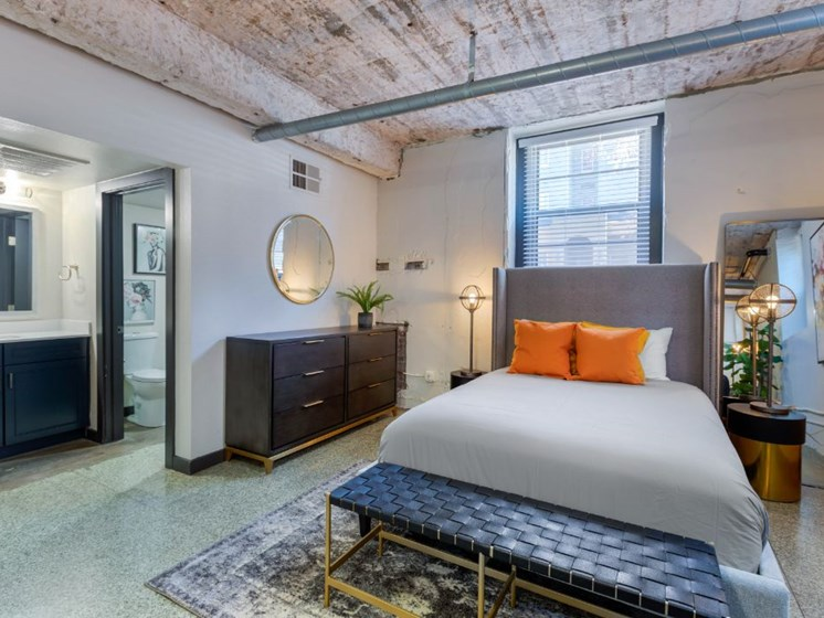 The Indi at Uptown Square Apartments | Loft Style Bedroom with En-suite Bathroom