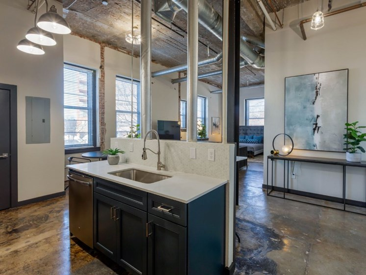 The Indi at Uptown Square Apartments |Industrial Style Kitchen