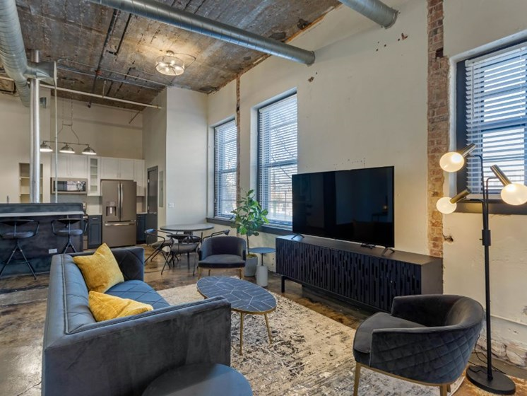 The Indi at Uptown Square Apartments  Spacious Open Floor Plan Living Room