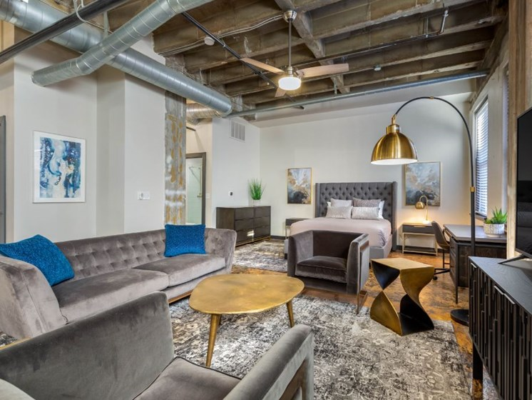 The Indi at Uptown Square Apartments  Open Floor Plan Living Room