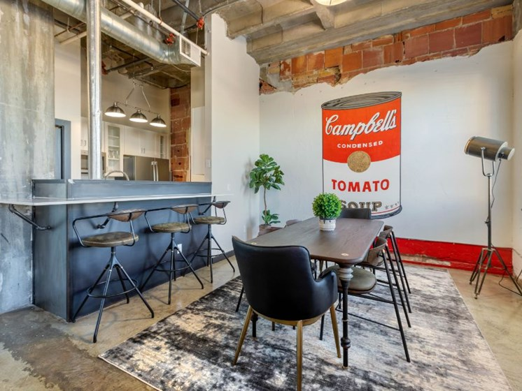 The Indi at Uptown Square Apartments  Dining Room and Breakfast Bar