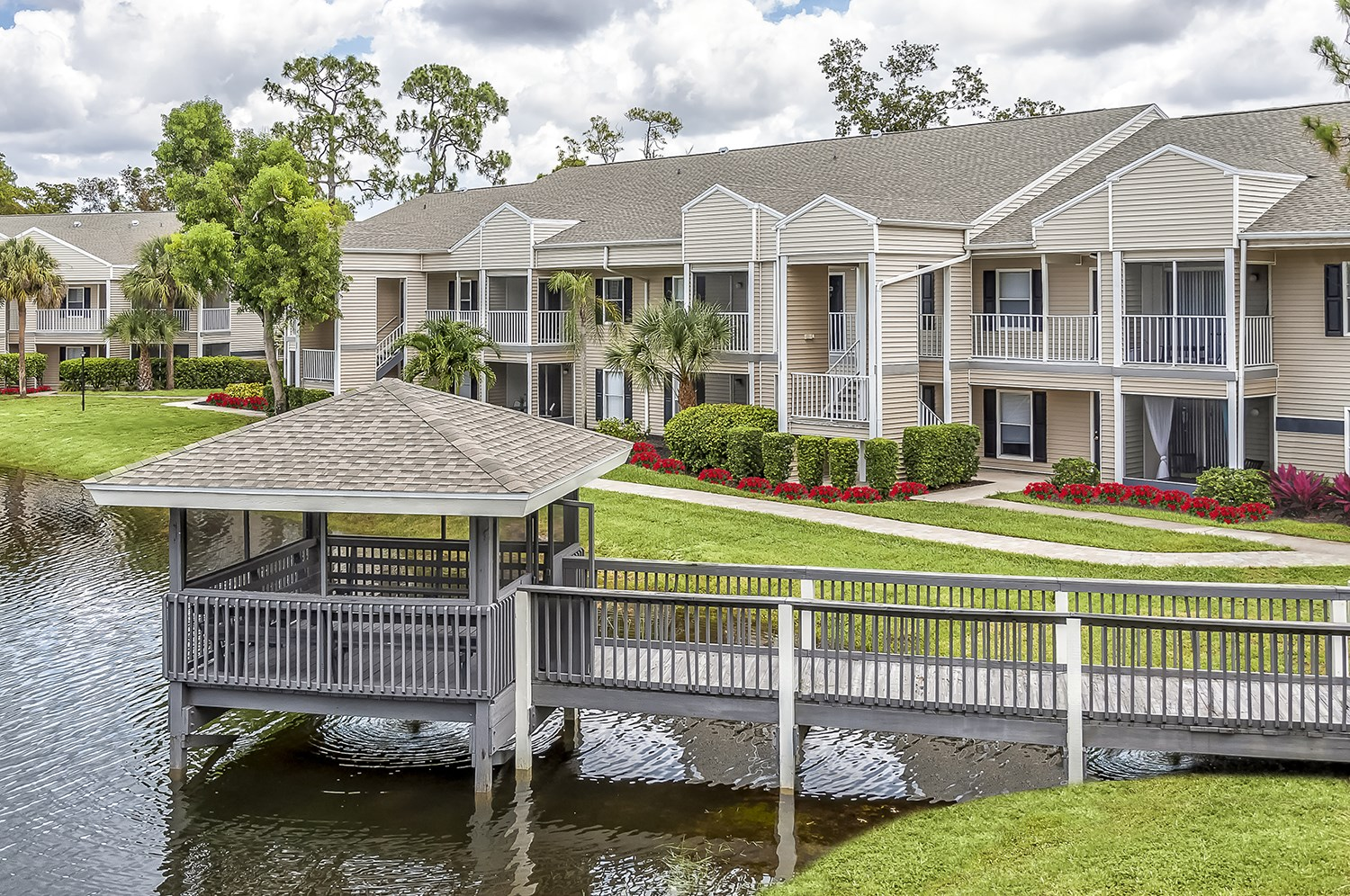 Lake and Gazebo at Brantley Pines Apartments in Ft. Myers, FL