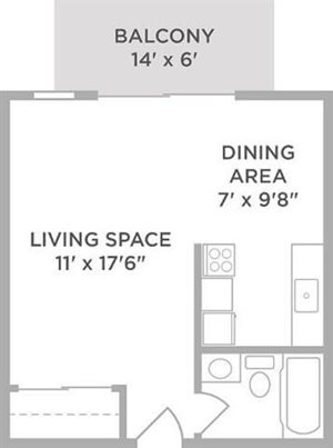 one bedroom apartment floor plan West Chester OH