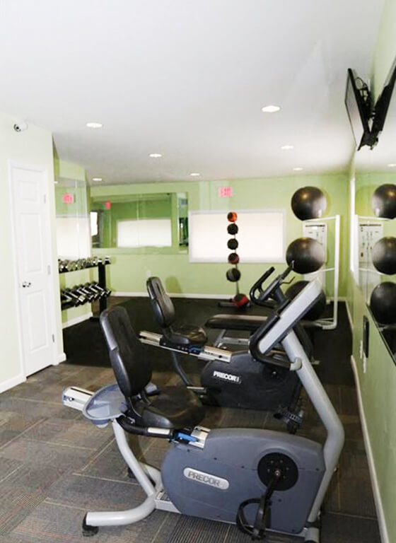Fitness center at West Chester Apartments