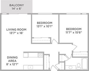 two bed apt floor plan for rent