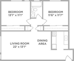 2 bed apt floor plan in West Chester OH