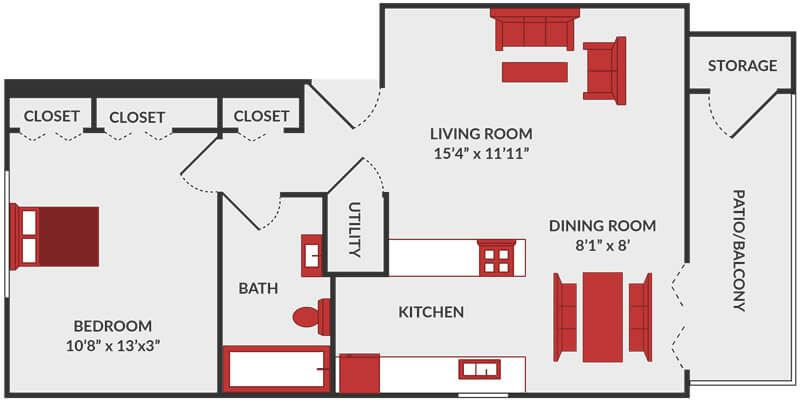 1 bedroom apartment floor plan in Fairfield, OH