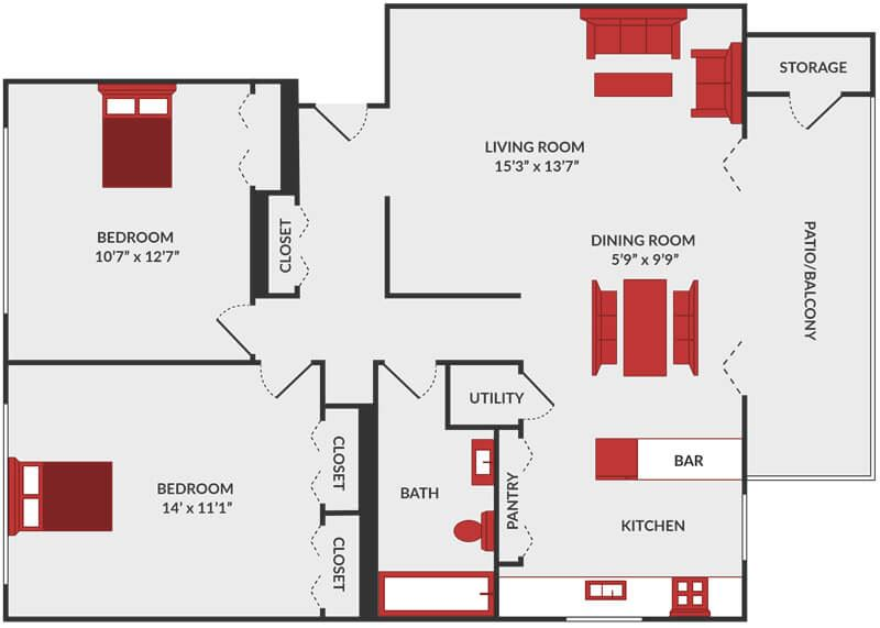 2 bedroom apartment floor plan in Fairfield, OH