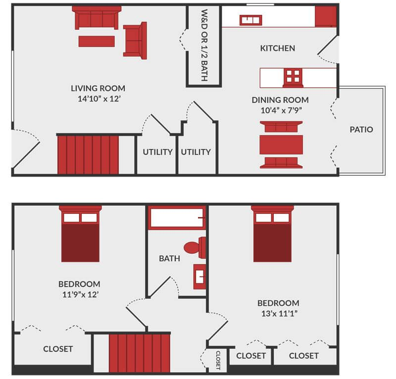 2 bedroom 1.5 bath apartment floor plan
