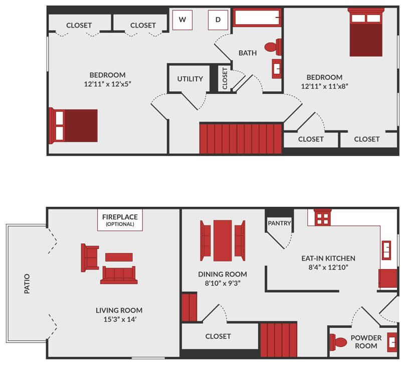 2 bedroom 1.5 bath apartment floor plan in Fairfield, OH